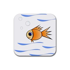Cute Fish Rubber Square Coaster (4 Pack)  by Valentinaart