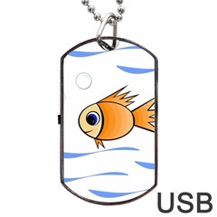 Cute Fish Dog Tag Usb Flash (two Sides)  by Valentinaart
