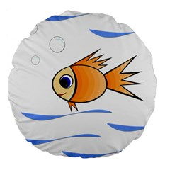 Cute Fish Large 18  Premium Flano Round Cushions by Valentinaart