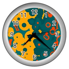 Bubbles                                                                              wall Clock (silver) by LalyLauraFLM