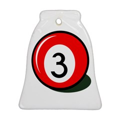 Billiard Ball Number 3 Bell Ornament (2 Sides) by Valentinaart