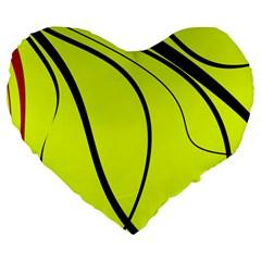 Yellow Decorative Design Large 19  Premium Flano Heart Shape Cushions by Valentinaart