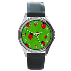 Ladybugs Round Metal Watch by Valentinaart