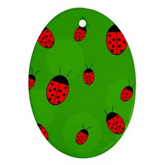 Ladybugs Ornament (oval)  by Valentinaart