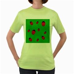 Ladybugs Women s Green T Shirt by Valentinaart