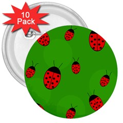 Ladybugs 3  Buttons (10 Pack)  by Valentinaart