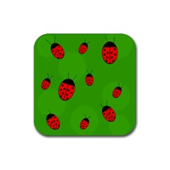 Ladybugs Rubber Square Coaster (4 Pack)  by Valentinaart