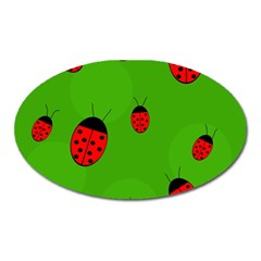 Ladybugs Oval Magnet by Valentinaart