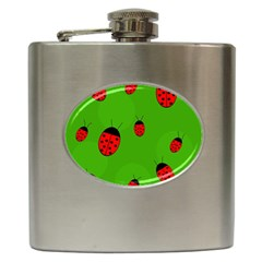 Ladybugs Hip Flask (6 Oz) by Valentinaart