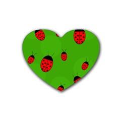 Ladybugs Rubber Coaster (heart)  by Valentinaart