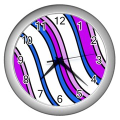 Purple Lines Wall Clocks (silver)  by Valentinaart