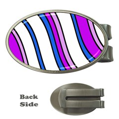 Purple Lines Money Clips (oval)  by Valentinaart