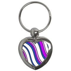 Purple Lines Key Chains (heart)  by Valentinaart