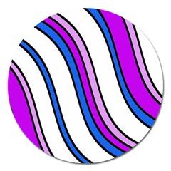 Purple Lines Magnet 5  (round) by Valentinaart