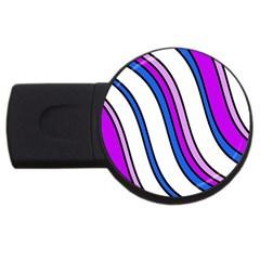 Purple Lines Usb Flash Drive Round (2 Gb)  by Valentinaart