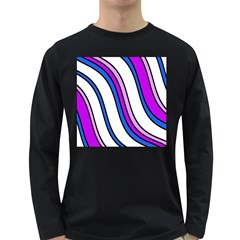 Purple Lines Long Sleeve Dark T Shirts by Valentinaart