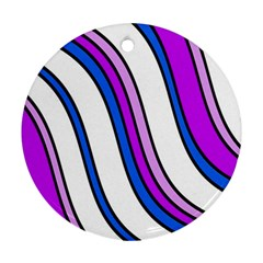 Purple Lines Round Ornament (two Sides)  by Valentinaart