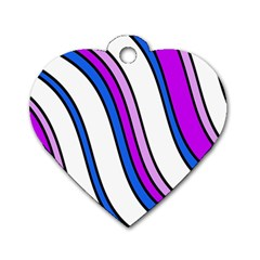 Purple Lines Dog Tag Heart (two Sides) by Valentinaart