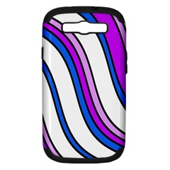 Purple Lines Samsung Galaxy S Iii Hardshell Case (pc+silicone) by Valentinaart