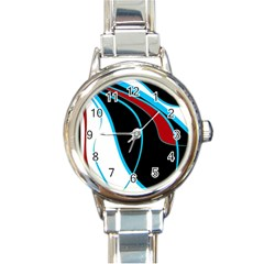 Blue, Red, Black And White Design Round Italian Charm Watch by Valentinaart