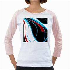 Blue, Red, Black And White Design Girly Raglans by Valentinaart