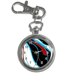 Blue, Red, Black And White Design Key Chain Watches