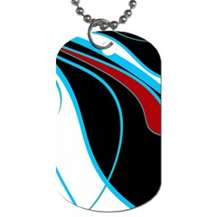 Blue, Red, Black And White Design Dog Tag (two Sides) by Valentinaart