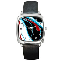 Blue, Red, Black And White Design Square Metal Watch by Valentinaart