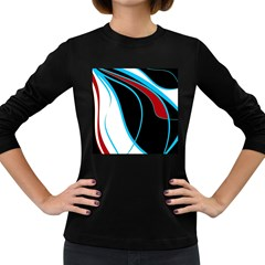Blue, Red, Black And White Design Women s Long Sleeve Dark T Shirts by Valentinaart