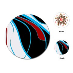Blue, Red, Black And White Design Playing Cards (round)  by Valentinaart