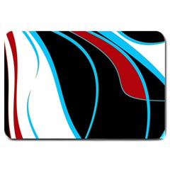 Blue, Red, Black And White Design Large Doormat  by Valentinaart