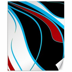 Blue, Red, Black And White Design Canvas 11  X 14   by Valentinaart