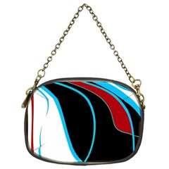 Blue, Red, Black And White Design Chain Purses (two Sides)  by Valentinaart