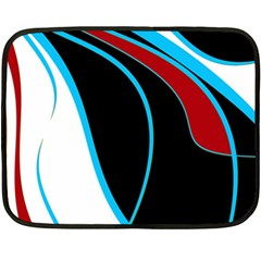 Blue, Red, Black And White Design Double Sided Fleece Blanket (mini)  by Valentinaart