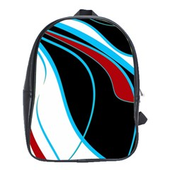 Blue, Red, Black And White Design School Bags(large)  by Valentinaart
