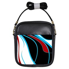 Blue, Red, Black And White Design Girls Sling Bags by Valentinaart