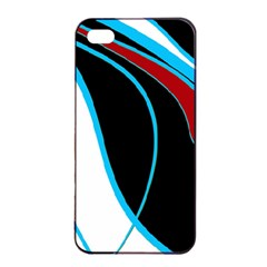 Blue, Red, Black And White Design Apple Iphone 4/4s Seamless Case (black) by Valentinaart