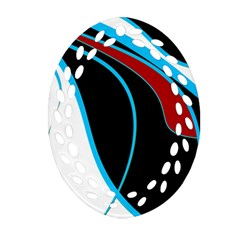 Blue, Red, Black And White Design Oval Filigree Ornament (2 Side)  by Valentinaart