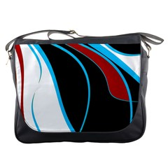Blue, Red, Black And White Design Messenger Bags by Valentinaart
