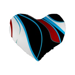 Blue, Red, Black And White Design Standard 16  Premium Heart Shape Cushions by Valentinaart