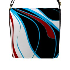 Blue, Red, Black And White Design Flap Messenger Bag (l)  by Valentinaart