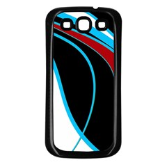 Blue, Red, Black And White Design Samsung Galaxy S3 Back Case (black) by Valentinaart