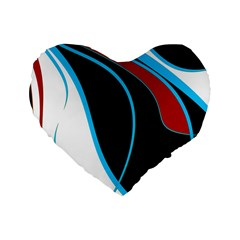 Blue, Red, Black And White Design Standard 16  Premium Flano Heart Shape Cushions by Valentinaart