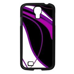 Purple Elegant Lines Samsung Galaxy S4 I9500/ I9505 Case (black) by Valentinaart
