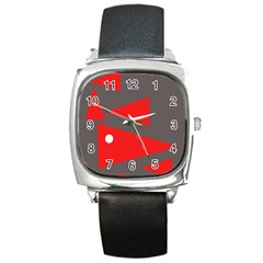 Decorative Abstraction Square Metal Watch by Valentinaart
