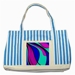 Purple and Blue Striped Blue Tote Bag