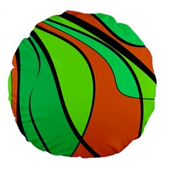 Green And Orange Large 18  Premium Flano Round Cushions by Valentinaart