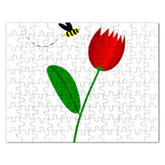 Red Tulip And Bee Rectangular Jigsaw Puzzl by Valentinaart
