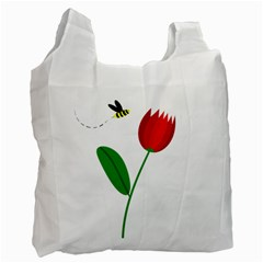 Red Tulip And Bee Recycle Bag (one Side) by Valentinaart
