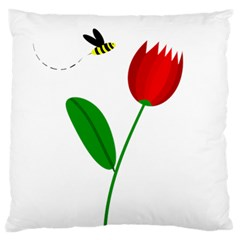 Red Tulip And Bee Standard Flano Cushion Case (one Side) by Valentinaart